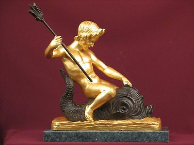 Bronze Limited Edition Sculpture Mythology God Neptune Detailed Statue On Marble