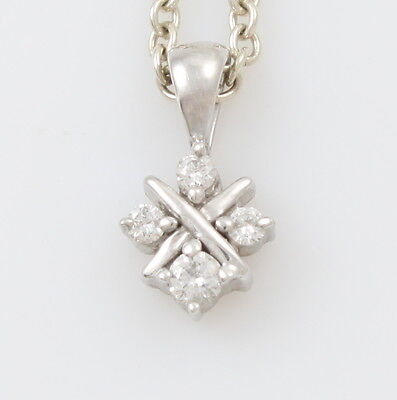 """9ct White Gold Diamond Cluster Pendant Hallmarked & Rolo Link Chain Necklace 16"""""""