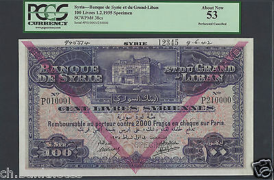 Syria Syrie 100 Lira 1-2-1935 P38c Specimen About Uncirculated