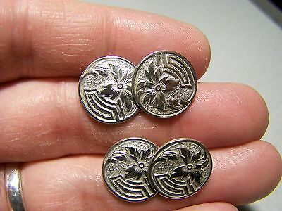 Antique 1890s Sterling Silver Cufflinks Vintage Victorian Aesthetic Movement