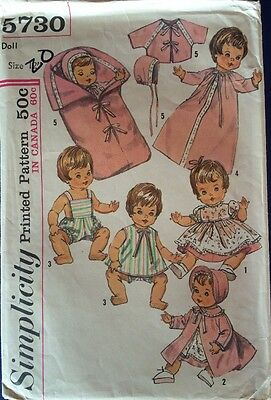 1960 SIMPLICITY Doll Clothes Pattern 5730 IDEAL TOYS Betsy Wetsy GINNY BABY