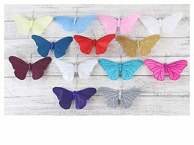 Large Satin Butterflies Butterfly 13 Colours Weddings Crafts florist Wire 3 9 18