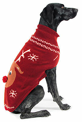 Ancol Christmas Xmas Reindeer Sweater Jumper Red for Dogs & Puppies
