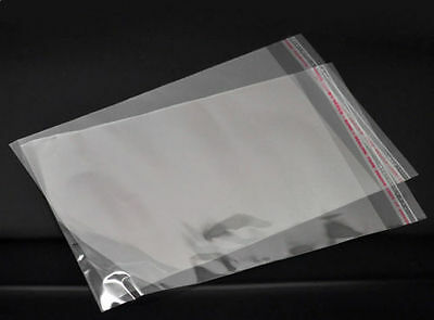 """Clear 12"""" x 16"""" QUALITY CELLOPHANE BAGS With Peel & Seal Flap Ideal For Packing!"""