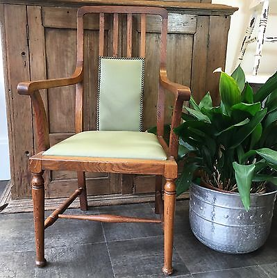 Arts and Crafts Blonde Oak Arm Chair Leather Upholstery