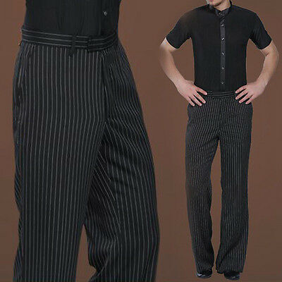 Adult Dance Pants Men Latin Striped Trousers Jazz Ballroom Competition Dancewear