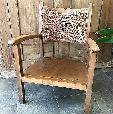 Antique 1940's Small Oak Childs Chair Wicker Detail