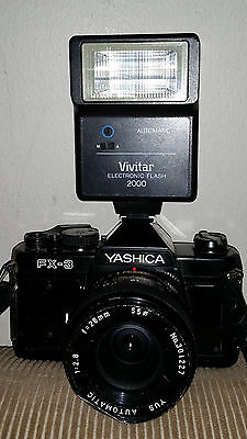 Yashica 35 MM Camera FX-3 with 1:2.8 and Vivitar 2000 Flash-Untested