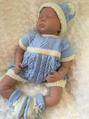 "New: Cute 3 Piece Knitted Outfit For 24"" Reborn / Baby Girl Or Boy"