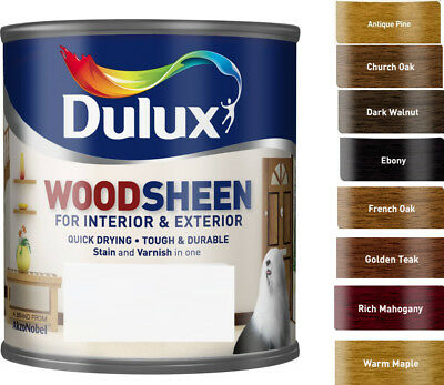 Dulux Woodsheen ALL IN ONE STAIN & VARNISH 250ml in Various Colours
