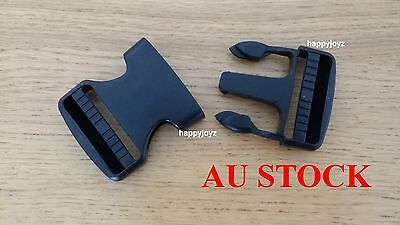 50mm Black Plastic Side Quick Release Buckle Clip Luggage Strap Backpack Bag