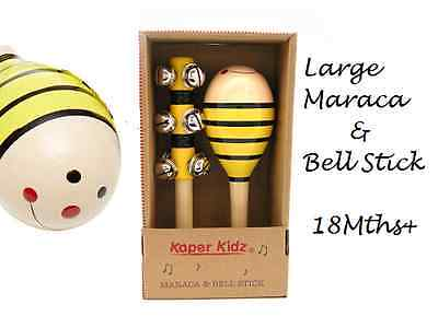 BEE MARACA & BELL STICK, Quality Wooden Non Toxic KAPER KIDZ Musical Toy 18mth+