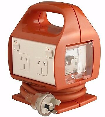 HPM 10Amps ELECTRESAFE POWER CENTRE w/ USB Charger Built-in Safety Switch Orange