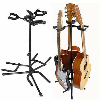 TRIPLE GUITAR STAND adjustable universal electric acoustic bass 3 way rack floor