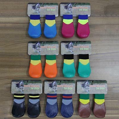 4x Waterproof Pet Rain Shoes Boots Socks Anti-slip Rubber boot for SMALL BIG Dog