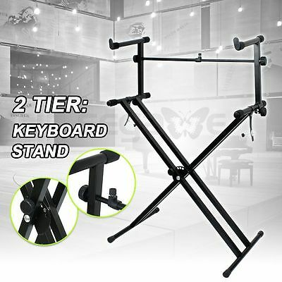 X Style Dual Music Keyboard Stand Electronic Piano Double 2-Tier Adjustable
