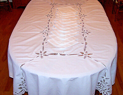 "Oval Battenburg Lace Tablecloth, 12 Napkins, 100"" Banquet Sized, Snow White 1970"