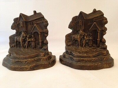 "Vintage Armor Bronze ""A Welcome Guest"" Bookends-Circa 1925 Inn Bed & Breakfast"