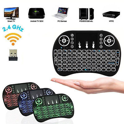 i8 Wireless Mini Keyboard Mouse Touchpad with Backlight For Smart TV BOX PC UK