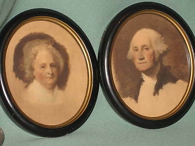 Pair of Small Oval Framed Prints of George and Martha Washington