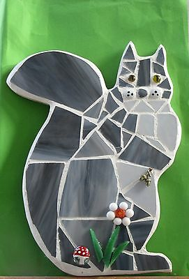 Stained Glass Mosaic Grey Squirrel, Handmade