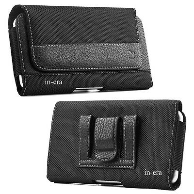Large Cell Phone iPhone Horizontal Pouch Holster Belt Clip Carrying Case Black