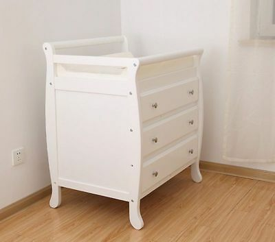 Sleigh Change Table with Change Pad with 3 drawers White or Espresso