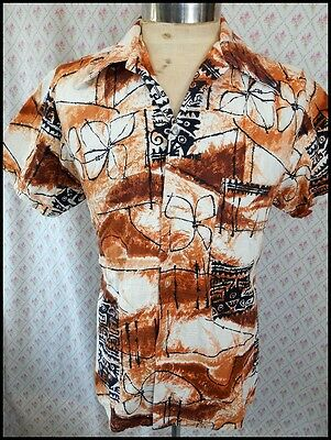 Vintage 1960s 'Squire' Short Sleeve All Cotton Tiki Hawaiian Resort Shirt M