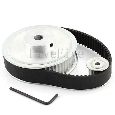 HTD 5M 60/15 Tooth Width 21mm Timing Pulley Belt set kit Reduction Ratio 4:1