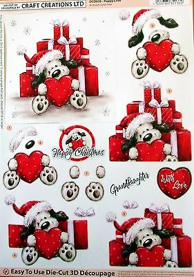 A4 Die Cut 3D Paper Tole Decoupage Christmas Puppy Love With Gifts Sheet Dcd636