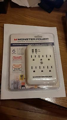 Monster 6 Outlet 2 USB Surge Protection Wall Tap