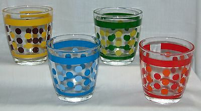 """4 POLKA DOTS w/BANDS *3 3/8""""  SOUR CREAM GLASSES* RED* YELLOW* BLUE* GREEN*"""