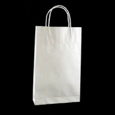 100 x KRAFT WHITE PAPER GIFT CARRY SHOPPING BAGS - 260(H) x 160(W) + 60(G)