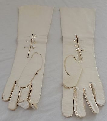 RARE Vintage 1920s ART DECO IVORY WHITE Kid LEATHER 3/4 Length Gloves w Buttons