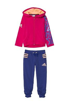 adidas girls pink & blue zip up tracksuit. Jogging suit. Warm up suit. Ages 5-10