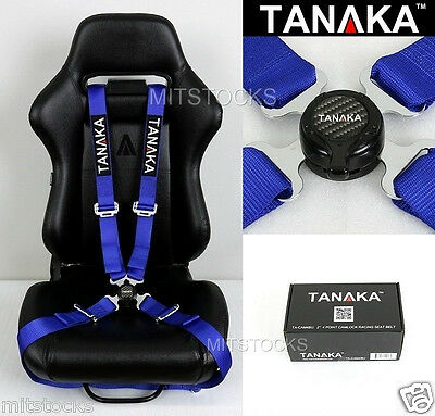 """Tanaka Universal Blue 4 Point Camlock Quick Release Racing Seat Belt Harness 2"""""""