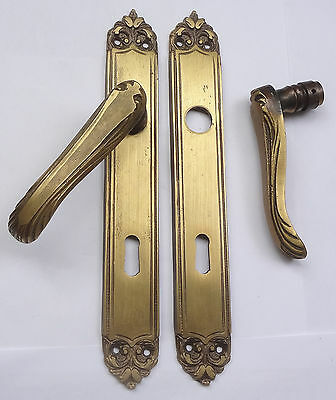 Lot Original Vintage Solid Brass Door Lever Handles seon Backplates Free Shiping