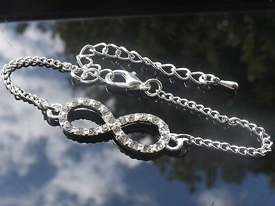Silver Plated Rhinestone Infinity Charm Friendship Bracelet for Bridesmaids etc