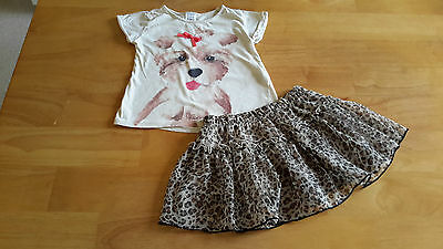 ZARA Girls 2 Piece Outfit Doggy T-Shirt & Leopard Print Skirt Age 2-4 Years