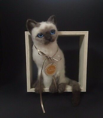 OOAK Needle Felted kitten Siamese cat actual sculpture wood wall decor Thai doll