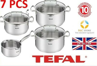 ~!+ Tefal Duetto Stainless Steel Cookware Set 7 Pcs Glass Lid Pots Kitchen +!~