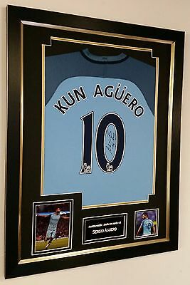 * NEW Sergio Aguero of Manchester CITY Signed Shirt Autograph Display *