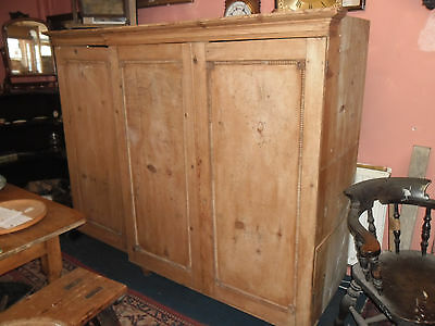 Antique Pine 3 piece Linen Press converted to Wardrobe in need of restoration