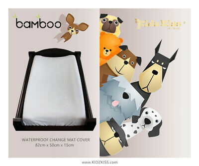 KIDZ KISS Bamboo Waterproof Fitted Change Mat / Pad Cover [Size: 82x50x15cm]
