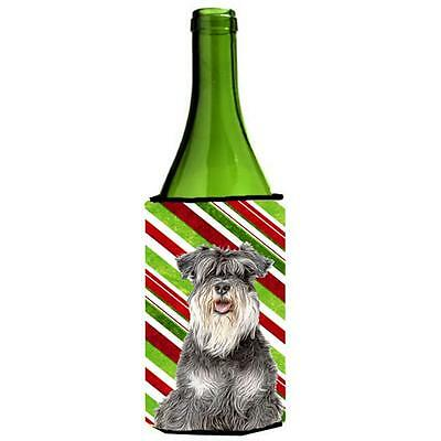 Candy Cane Holiday Christmas Schnauzer Wine bottle sleeve Hugger