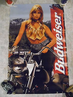 Budweiser Poster 20 X 32 Woman Motorcycle 1996
