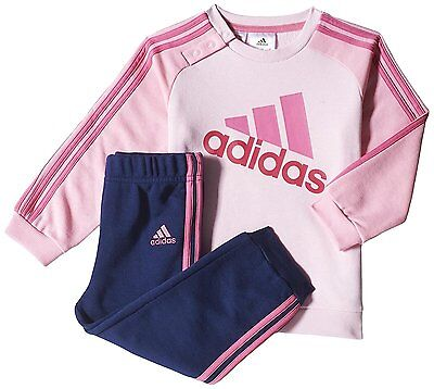 adidas girls pink/navy infant/baby logo tracksuit. Jogging suit. Sizes 3M - 4Y