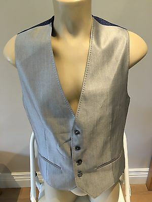 Mens Brand New Ted Baker Silver Waistcoat 40R Secret Cinema Essential