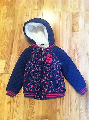 Next Navy Winter Duffle Coat Fur Lined Hood And Inside 2-3yrs