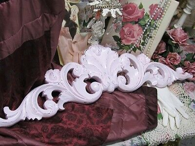 LARGE ORNATE LIGHT PINK PEDIMENT~SHABBY PATINA~RESIN~Cottage~Chic